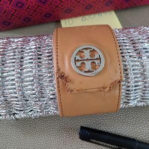 Tory Burch silver metallic straw wicke clutch case